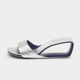 Jady Rose Glamorous Silver Mid Wedge Slippers (19DR10640)