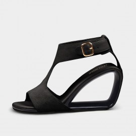 Jady Rose Interstellar Black Suede Wedge Sandals (19DR10643)