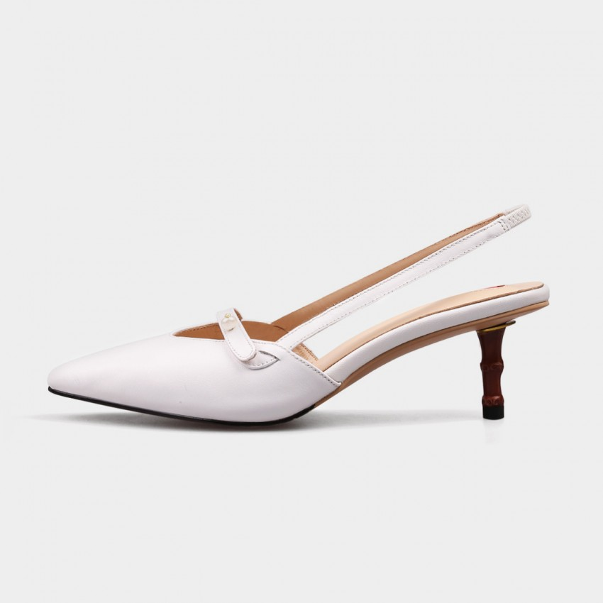 Jady Rose Sweetheart Pearl String Pointed Toe Stilettos White Pump (17DR10247)