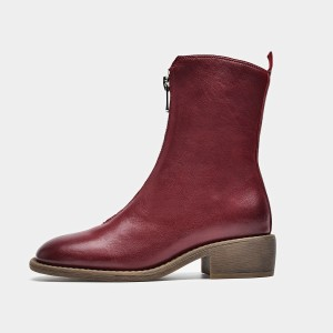 Beau Modern Zipper Rubber Sole Red Boots (02008)