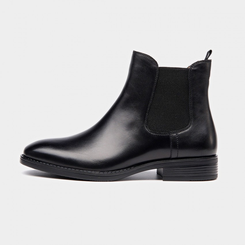 Beau Basic Elastic Leather Black Boots (03025)