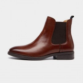 Beau Basic Elastic Leather Brown Boots (03025)