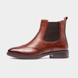 Beau Brogued Elastic Leather Brown Boots (03026)