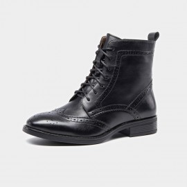 Beau Brogued Laced Leather Black Boots (03039)