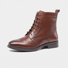 Beau Brogued Laced Leather Brown Boots (03039)