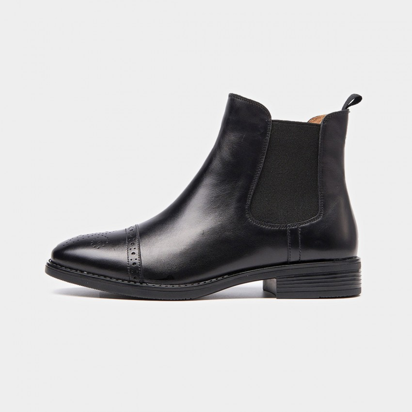 Buy Beau Quarter Brogued Elastic Leather Black Boots online, shop Beau with free shipping