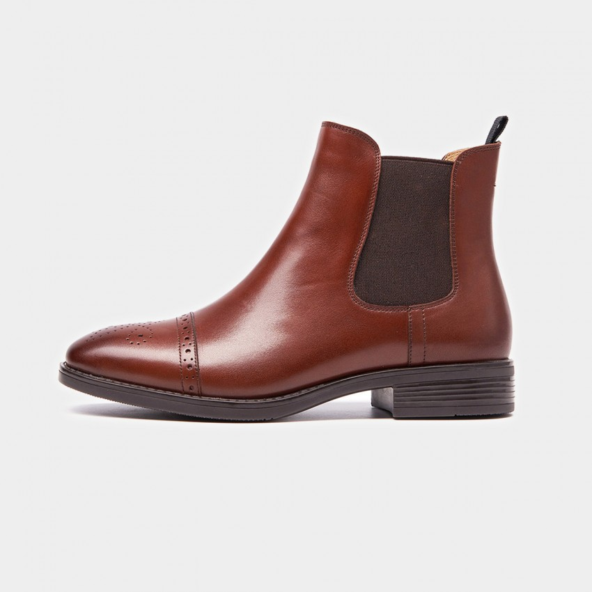 Buy Beau Quarter Brogued Elastic Leather Brown Boots online, shop Beau with free shipping