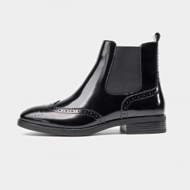 Beau Glossy Brogued Elastic Leather Black Boots (03045)