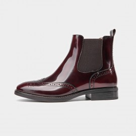 Beau Glossy Brogued Elastic Leather Wine Boots (03045)
