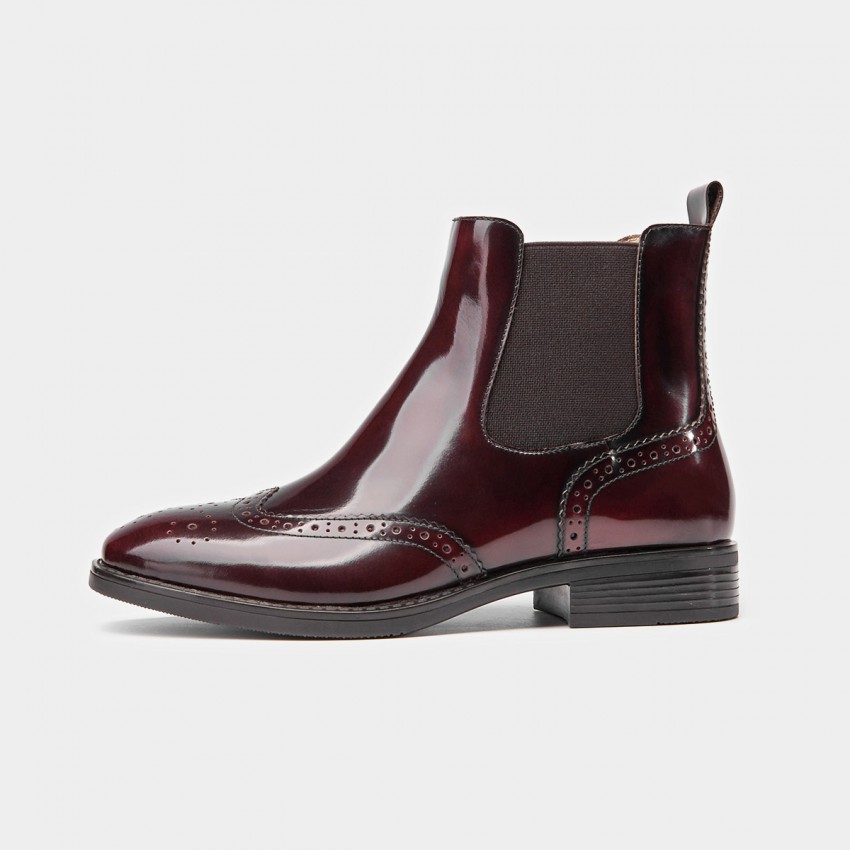 Buy Beau Glossy Brogued Elastic Leather Wine Boots online, shop Beau with free shipping