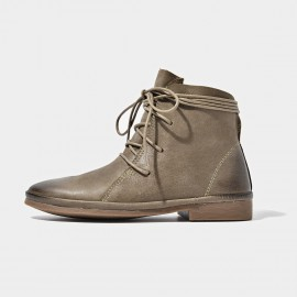 Beau Soft Leather Lace Grey Boots (03072)