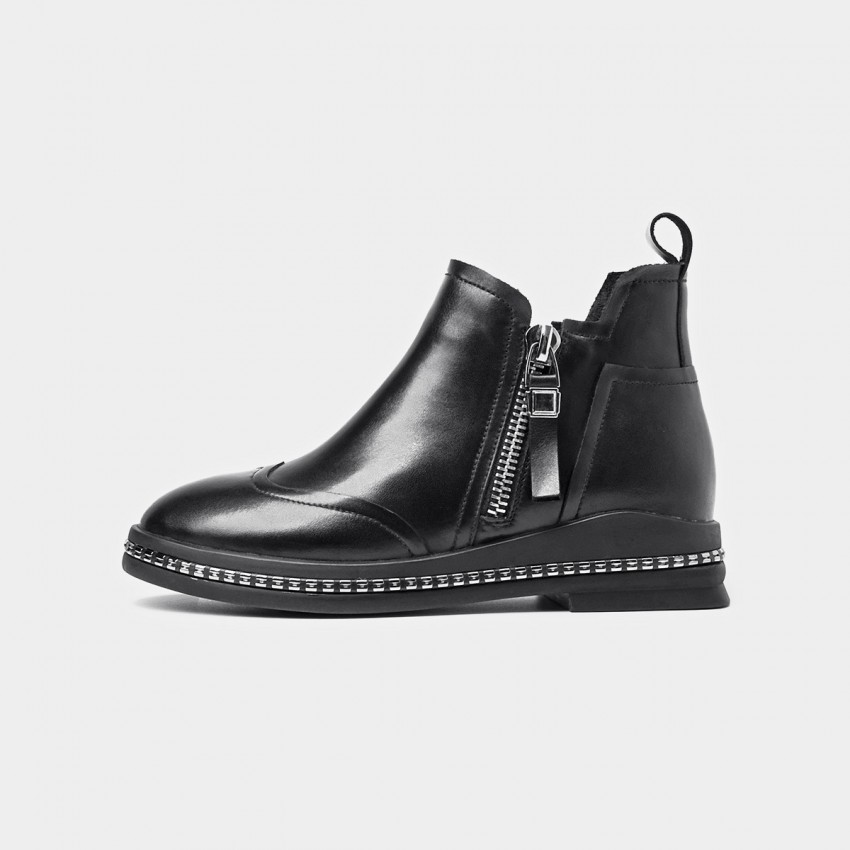 Buy Beau Metal Zipper Embellished Sole Black Boots online, shop Beau with free shipping