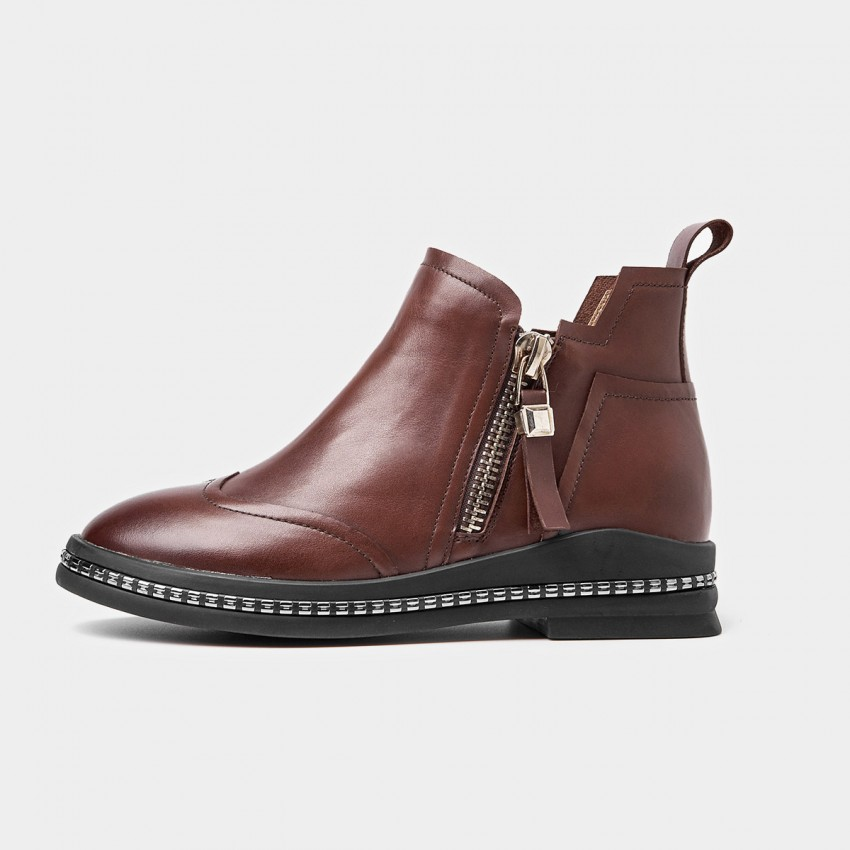 Buy Beau Metal Zipper Embellished Sole Brown Boots online, shop Beau with free shipping