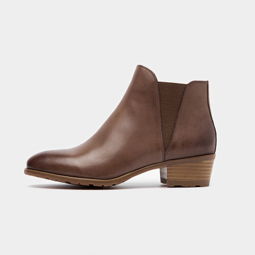 Buy Beau Basic Elastic Low Heel Coffee Boots online, shop Beau with free shipping