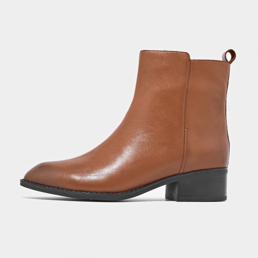 Buy Beau Minimalist Low Heel Ankle Brown Boots online, shop Beau with free shipping