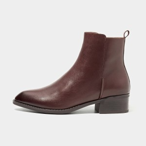 Beau Minimalist Low Heel Ankle Red Boots (03230)