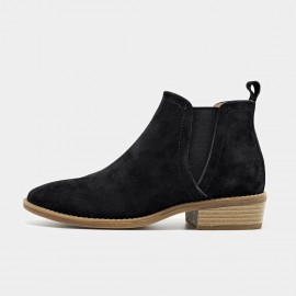 Beau Suede Contrasting Sole Black Boots (03232)