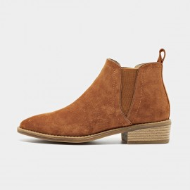 Beau Suede Contrasting Sole Brown Boots (03232)
