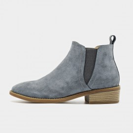 Beau Suede Contrasting Sole Grey Boots (03232)