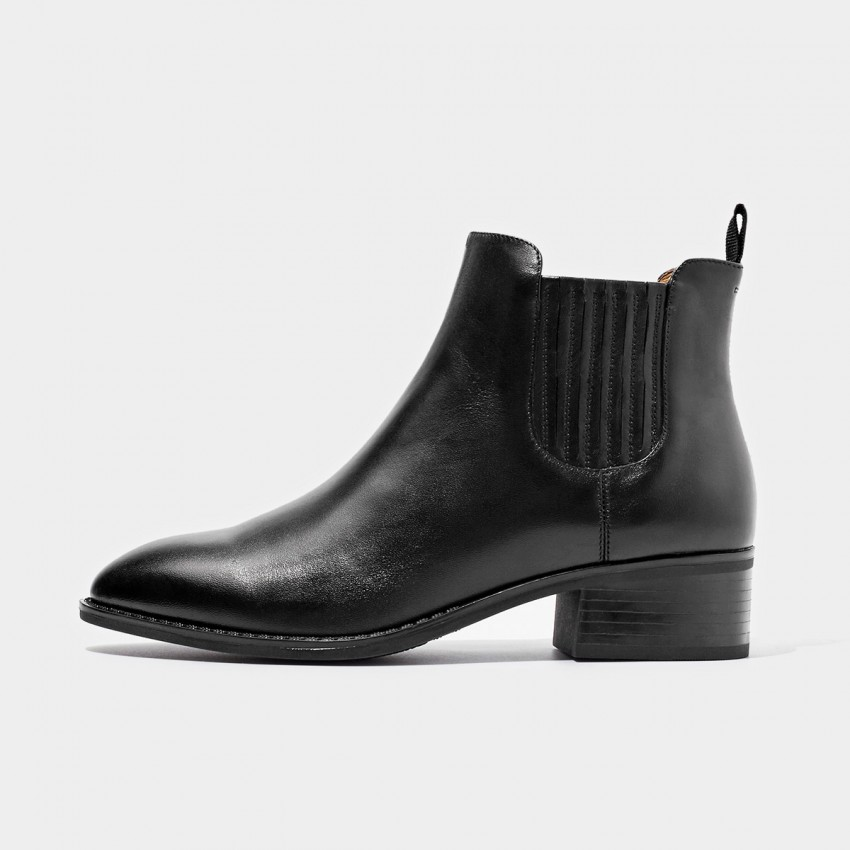 Buy Beau Striped Elastic Low Heel Black Boots online, shop Beau with free shipping