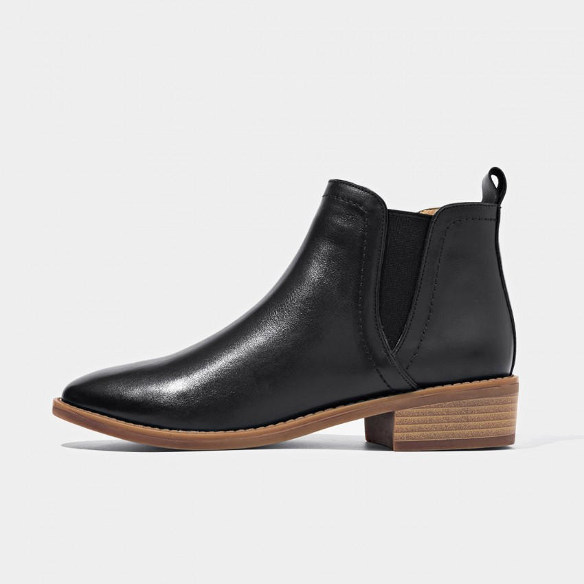 Buy Beau Elastic Low Heel Wood Grain Heel Black Boots online, shop Beau with free shipping