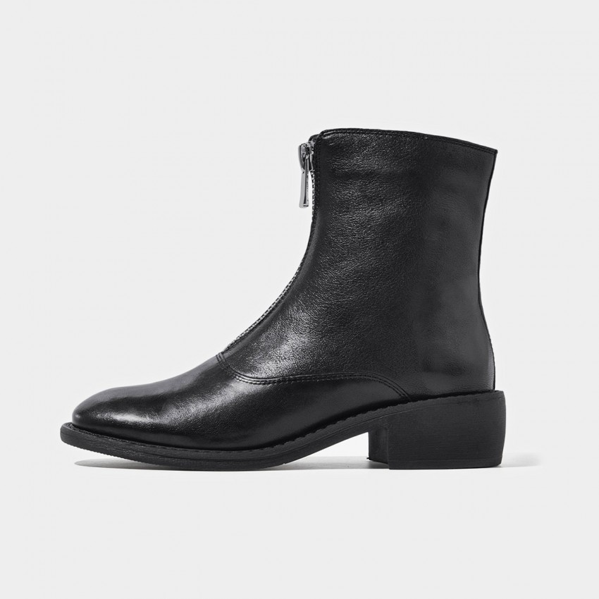 Buy Beau Zipper Round Toe Black Boots online, shop Beau with free shipping