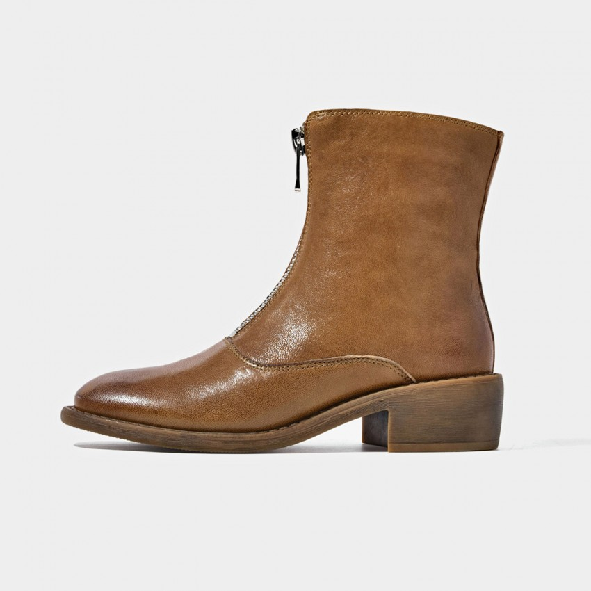Buy Beau Zipper Round Toe Brown Boots online, shop Beau with free shipping
