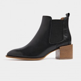 Beau Wood Grain Chunky Heel Black Boots (03313)