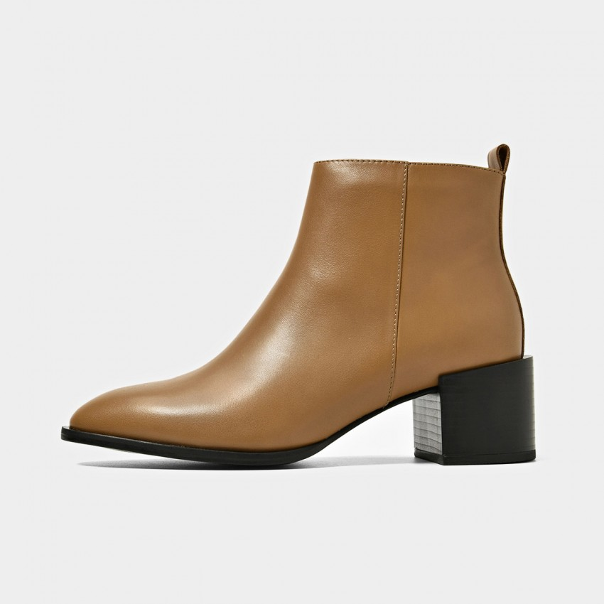 Buy Beau Zipper Chunky Heel Brown Boots online, shop Beau with free shipping