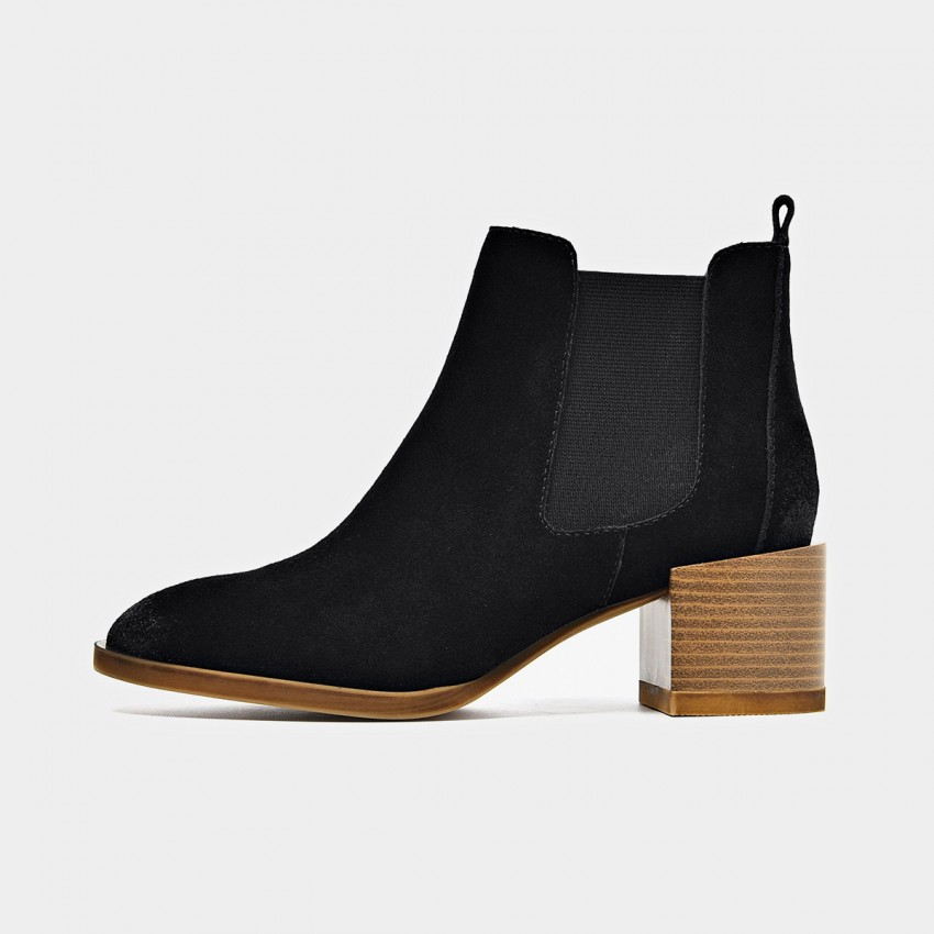 Buy Beau Suede Elastic Chunky Heel Black Boots online, shop Beau with free shipping