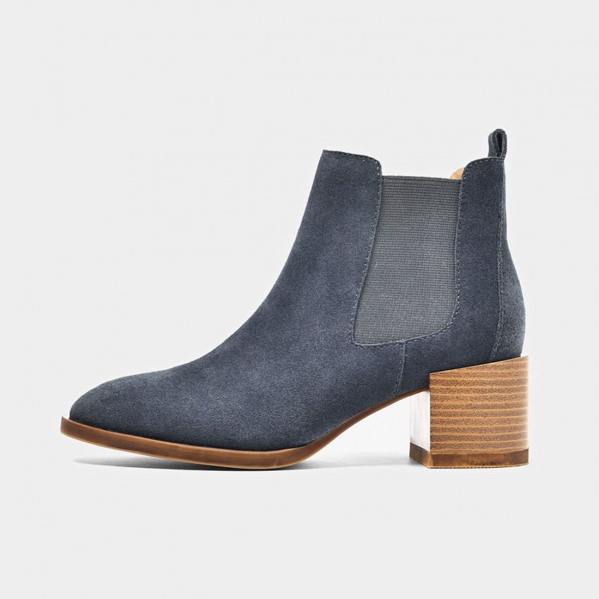 Buy Beau Suede Elastic Chunky Heel Blue Boots online, shop Beau with free shipping