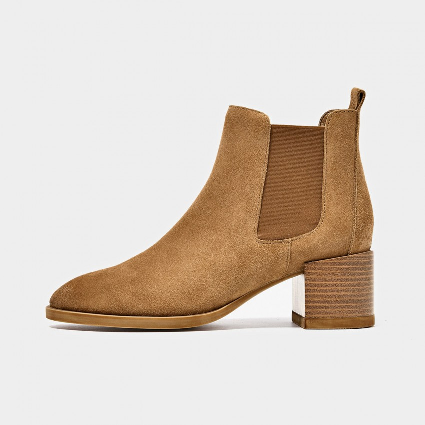 Buy Beau Suede Elastic Chunky Heel Brown Boots online, shop Beau with free shipping