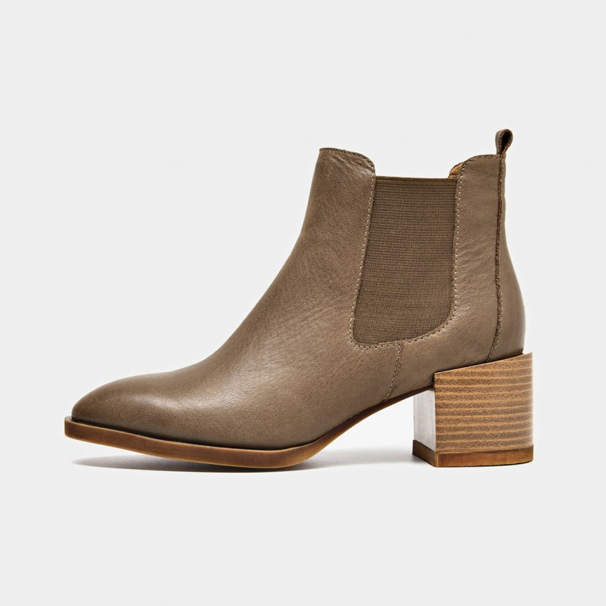 Buy Beau Suede Elastic Chunky Heel Coffee Boots online, shop Beau with free shipping