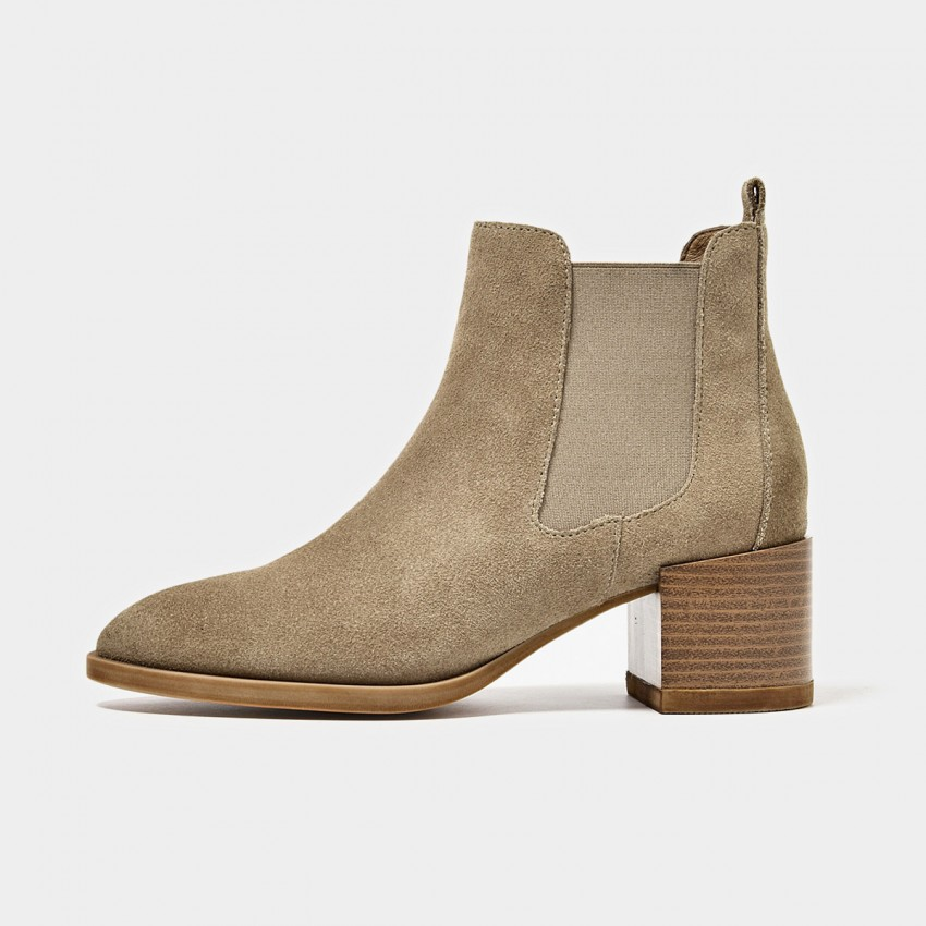Buy Beau Suede Elastic Chunky Heel Khaki Boots online, shop Beau with free shipping