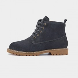 Beau Suede Lace Rubber Sole Charcoal Boots (04012)