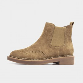 Beau Brogued Suede Elastic Rubber Sole Camel Boots (04016)