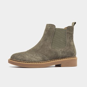 Beau Brogued Suede Elastic Rubber Sole Khaki Boots (04016)
