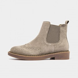 Beau Brogued Suede Elastic Rubber Sole Tan Boots (04016)