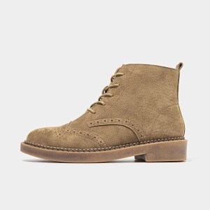 Beau Brogued Suede Lace Rubber Sole Camel Boots (04017)
