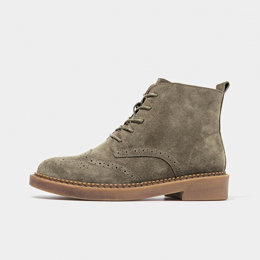 Buy Beau Brogued Suede Lace Rubber Sole Khaki Boots online, shop Beau with free shipping
