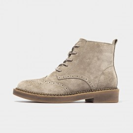 Beau Brogued Suede Lace Rubber Sole Tan Boots (04017)