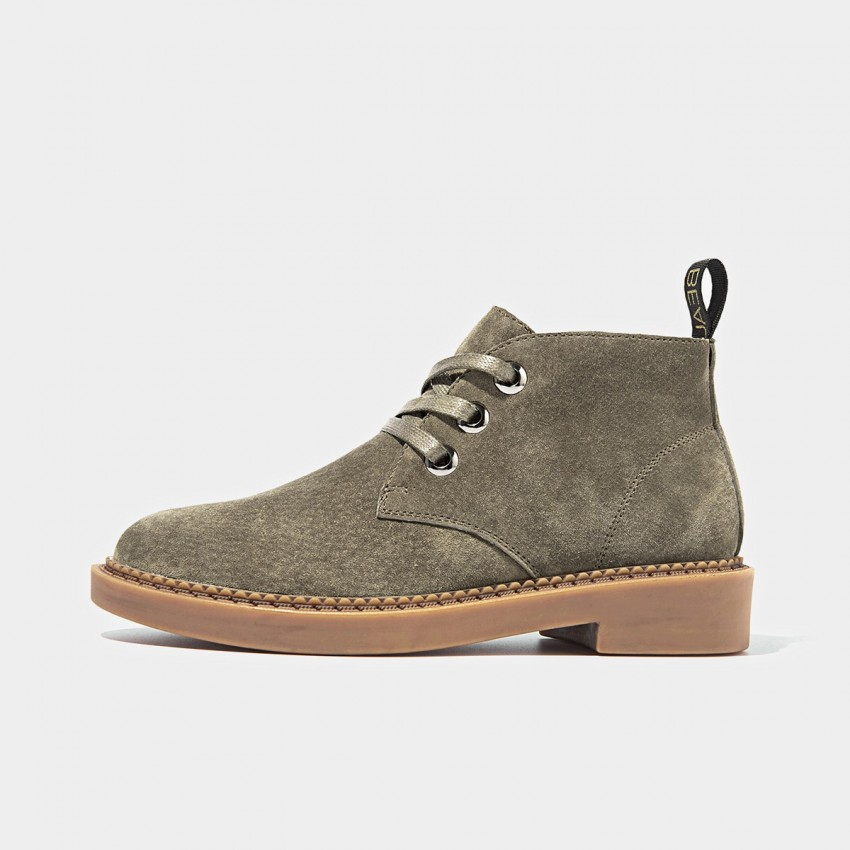Buy Beau Suede Lace Rubber Sole Khaki Boots online, shop Beau with free shipping