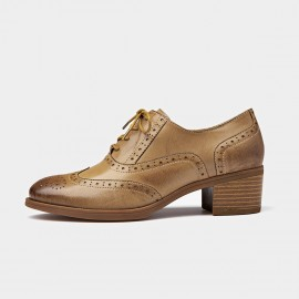 Beau Oxford Chunky Heel Brown Lace Ups (15114)