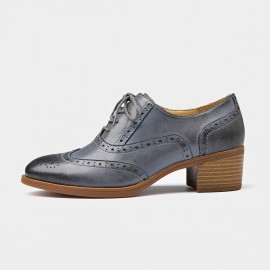 Beau Oxford Chunky Heel Grey Lace Ups (15114)
