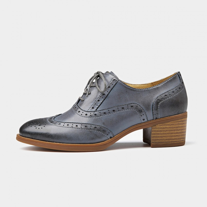 Buy Beau Oxford Chunky Heel Grey Lace Ups online, shop Beau with free shipping