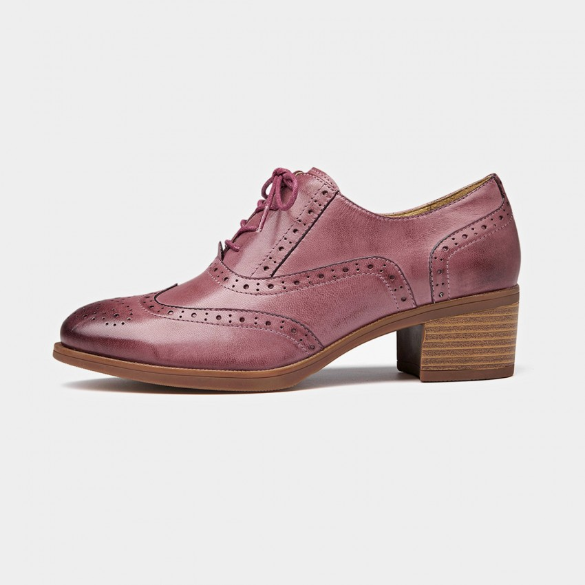 Buy Beau Oxford Chunky Heel Pink Lace Ups online, shop Beau with free shipping