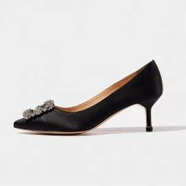 Beau Elegant Jewel Silk Mid Heel Black Pumps (16008)