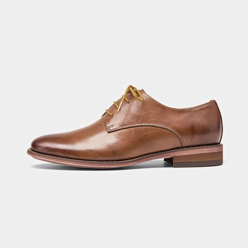 Buy Beau Classic Leather Gradient Sole Brown Lace Ups online, shop Beau with free shipping