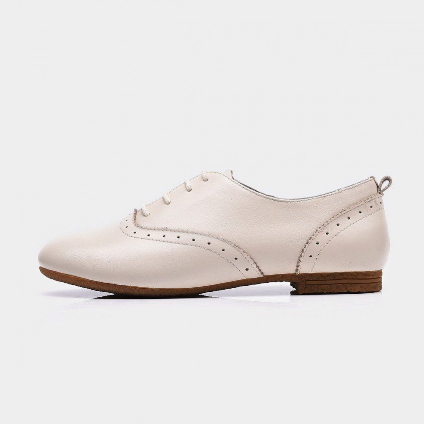 Buy Beau Vintage Round Toe Oxford Beige Lace Ups online, shop Beau with free shipping