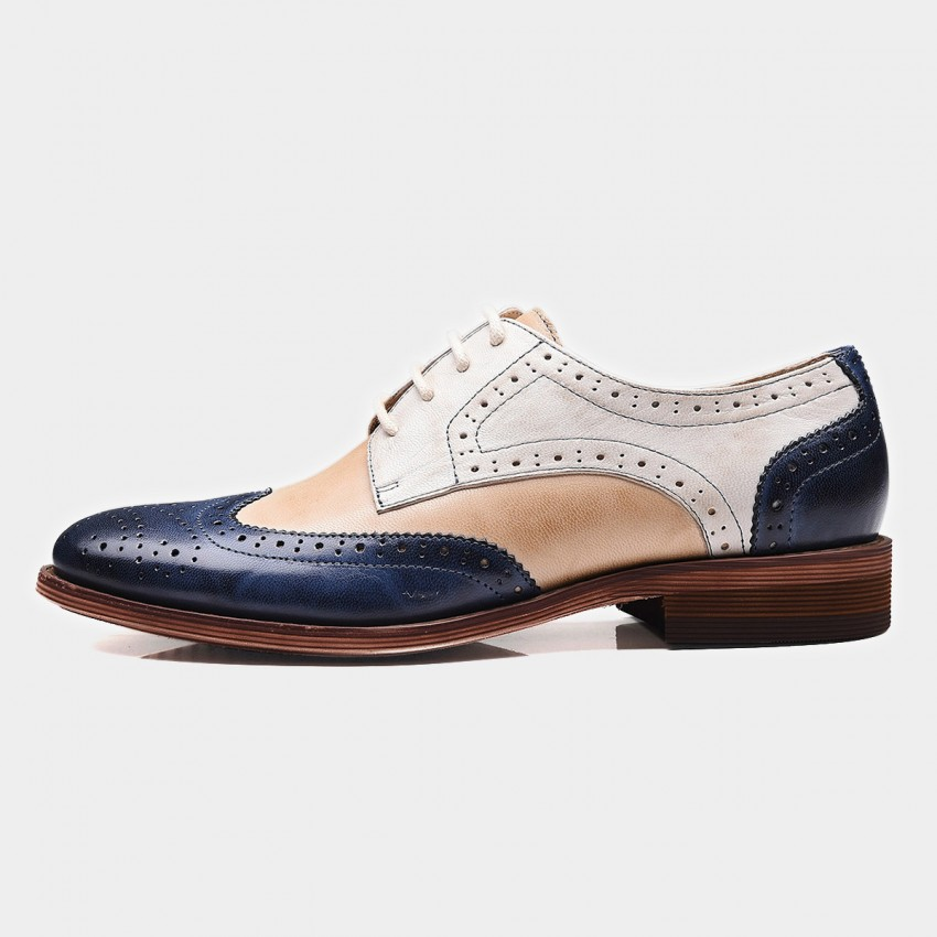 Buy Beau Contrast Color Oxford Gradient Sole Apricot Lace Ups online, shop Beau with free shipping